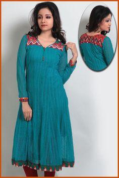 Turquoise Readymade Crochet Net Tunic