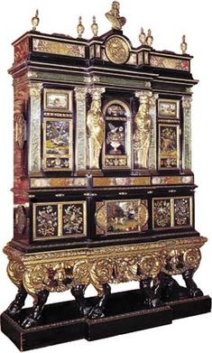 Photograph:A baroque cabinet made for Louis XIV by Domenico Cucci between 1681 and 1683 is inlaid with pietra dura.