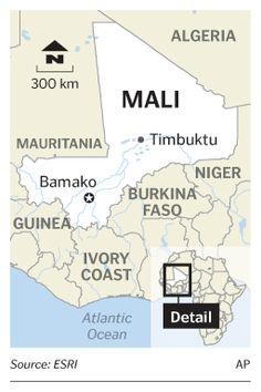 Mali is surrounded by Mauritania, Algeria, Niger, Burkina Faso, Cote d'lvoire, Guinea, and Senegal.