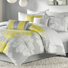 Queen 7-piece Bed in a Bag Grey and Yellow Floral Comforter Set