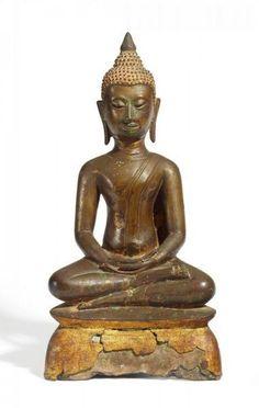 BUDDHA CHIANG SAEN-STIL. - Nord-Thailand. Wohl 17. Jh. - - Relativ dünnwandige [...]