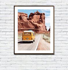 VW Camper/Van Print/Boho Wall Art/Desert Print/Travel Print/Boys Room/Wall Art/South Western/Poster Printable/Arizona Desert Photography As You Like, Just In Case, Frame Download, Desert Photography, International Paper Sizes, Vw Camper, Beach Trip, Vintage Images, All Design