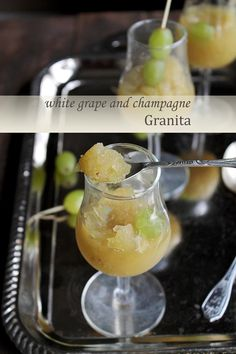 White Grapes and Champagne Granita