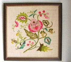 Vintage Crewel Work Floral Design by GhostsofGrandma on Etsy