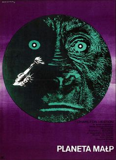 """Polish movie poster  Author : Eryk Lipinski  Poster : """"PLANETA MALP"""", 1969  A1- vertical = 22.6"""" x 31.5"""" (57.5 x 80 cm), color offset  Circulation : 6000  Recent gallery price : £ 650 (UK gallery), rare  Film : """"Planet of the Apes"""", US (20th Century Fox), 1968  Directed by Franklin J. Schaffner  Starring : Charlton Heston, Roddy McDowall, Kim Hunter, Maurice Evans"""