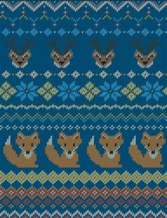 Knitted bright seamless winter pattern with stylized foxes and deers in fair isle style. Knitting Charts, Free Knitting, Tejido Fair Isle, Pull Bebe, Fair Isles, Cement Crafts, Christmas Deer, Xmas, Fair Isle Knitting