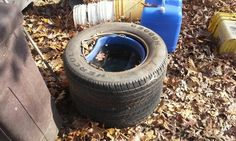 Water bucket inside tires in winter to keep from freezing works good so far