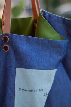 Intérieur (pouvant être extérieur) jeans pour ce cabas réversible.