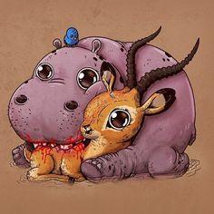 Hippo & Impala  #adorablecircleoflife  Predator & Prey by alexmdc