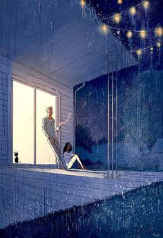 San-Francisco-based illustrator Pascal Campion captures the magic in everyday moments. Each colorful digital illustration is like a snapshot of a precious memory with loved ones, pets, or simply a tranquil moment of solitude. Pascal Campion, Couple Illustration, Illustration Art, Illustrator, Bd Art, Pixiv Fantasia, Cute Couple Art, Couple Drawings, Anime Scenery