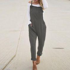 feee0385cb12 2018 Plus Size ZANZEA Women Solid Slim Work Jumpsuit Overalls Bodysuit  Casual Spaghetti Straps Long Playsuit