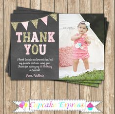 One First Birthday girl coral pink gold chalkboard Thank You card invitation  by CupcakeExpress on Etsy 1st photo thank you  pink gold