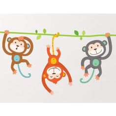 Your cheeky little monkeys will love these super cute Monkey Wall Stickers that will be swinging through your kids rooms. Perfect for children's rooms, play areas, hallways and more, they are a great unisex option.  The three Monkeys that come in this kit are cut separately so you can have complete flexibility on how you use them in your space. #spon