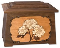 """Mums Astoria Cremation Urn with Wood Inlay Art - Urns Northwest. Chrysanthemum flower cremation urn made in the USA from solid wood in our elegant craftsman-style """"Astoria"""" shape."""