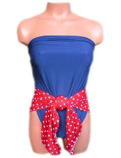 Small Bathing Suit Pin Up Girl Americana Red and White Polka Dots paired with Navy Blue Wrap-around Swimsuit Petite Womens and Teen Swimwear