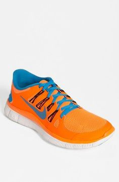 Nike 'Free 5.0 ' Running Shoe (Men) Orange and blue are a good combo available at #Nordstrom #nike #free