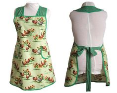 Plus Size Apron  Chickens and Roosters on Green  by timelessaprons