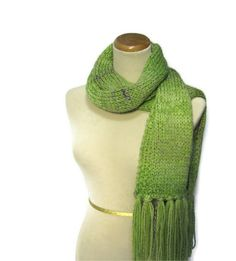 Pistachio Marble Hand Knit Scarf Green by ArlenesBoutique on Etsy,