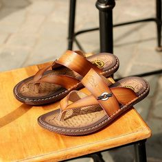 1860d446a05ee Men Clip Toe Non-slip Beach Slippers Slip On Breathable Casual Sandals  (schedule.