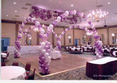 String of Pearls, columns, & Balloon Drop in  Beautiful Purples