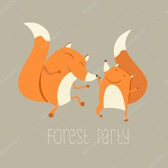 Vector illustration of cute dancing foxes. Fox Illustration, Christmas Illustration, Illustrations, Forest Party, Painting & Drawing, Adobe Illustrator, Cute Animals, Dance, Drawings