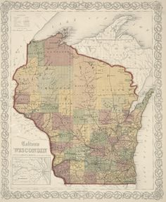 Colton's Wisconsin 1859 railroad map shows counties, cities, rivers and lakes in the entire state of Wisconsin. It includes an inset depicting the railroads in Milwaukee that connected Brookfield, Wauwautosa, Waukesha, Menomonee, Pewaukee, New Berlin, Granville and Lisbon. Image ID:   WHi-41368