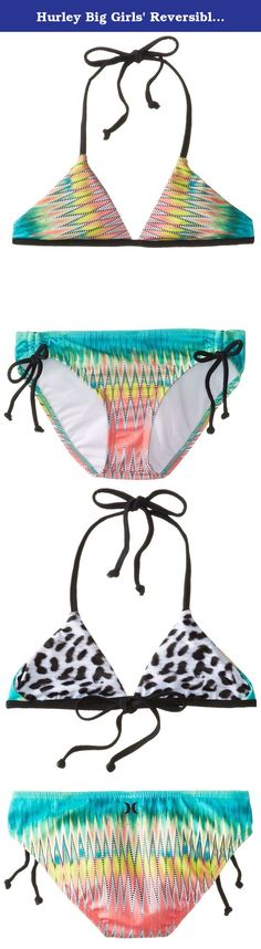 Hurley Big Girls' Reversible Triangle Bikini Top and Bottom with Ties, Multi, 12. Fun multi-color triangle top with matching tunnel pant.