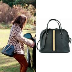 "Cristal Flores wears this Gucci web-leather ""Dome"" handbag on Dynasty 1x11"