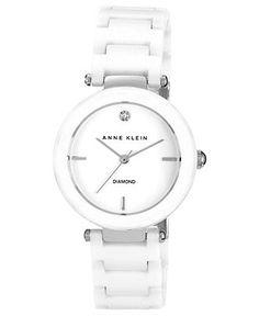 Anne Klein Watch, Women's Diamond Accent White Ceramic Bracelet 33mm AK-1019WTWT - All Watches - Jewelry & Watches - Macy's
