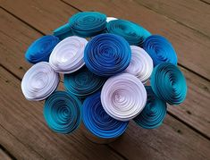 Paper Flower Bouquet - Teal, Aqua Blue & Bright White Paper Flower Bouquet for Brides, Weddings, Showers, Birthdays