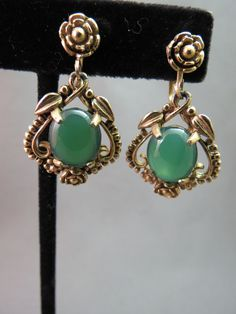Vintage Gold Plated Earrings Green Glass Cabochon Ovals Dangle Flower Motif Nice #Unbranded #DropDangle