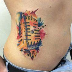 Watercolor tattoo- magic microphone