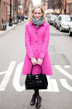 kate spade pink coat | Hot pink coat and houndstooth, plus a little Kate Spade... I'm so getting a pink coat this fall!