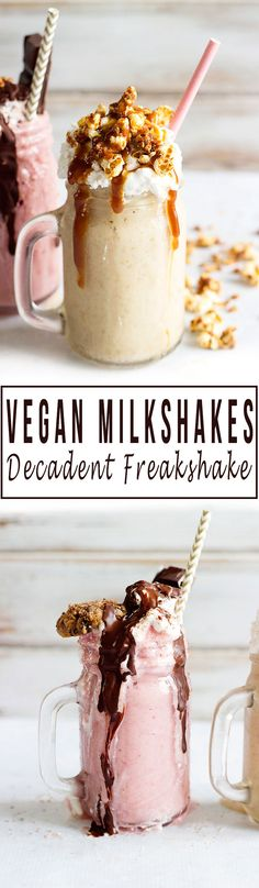 Freakshake - Decadent Vegan Milkshakes | Two delicious flavours - Macadamia, Banana & Vanilla topped with Peanut Butter Caramel and Almond Popcorn, and a Chocolate and Strawberry, topped with vanilla whipped coconut cream and Chocolate Fudge Sauce. The perfect dessert for the summer! #vegan #glutenfree