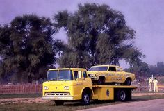 57-60 Ford C-600 COE flatbed race transporter with Chevoom on board