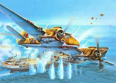 Airplane Painting Art Ships Fighter Airplane Bristol Beaufighter Mk.6 Flight Aviation