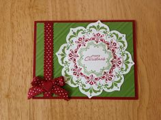 Stampin Up handmade Christmas card - red and green flower wreath
