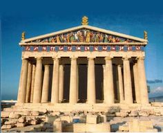 Color reconstruction of the Parthenon in Greece.