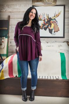 "- 48% Polyester, 4%Spandex - 29"" Long  The Cut, Stripes and Detail Trim on this Tunic are {PERFECTION}!!  Sized S, M and L (Nicole wearing a S, Randi wearing a L)"