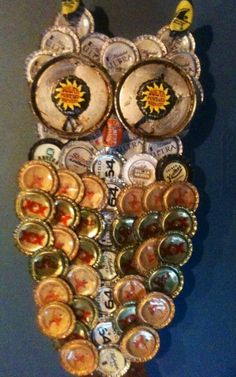 Owl wall art made from metal bottle caps