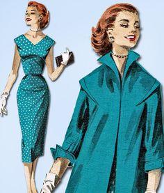 1950s Vintage Butterick Sewing Pattern 8046 Misses Wiggle Dress & Coat Sz 36 B #Butterick #DressPattern