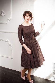 """Платье """"Шоколад"""" - коричневый, однотонный, юбка в складку, платье с пышной юбкой, нью лук, handmade dress"""
