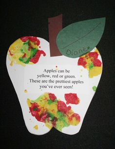 apple activities, apple centers, apple art, apple arts and crafts, quick and… Preschool Apple Theme, Fall Preschool, Preschool Projects, Daycare Crafts, Preschool Activities, Preschool Apples, Apple Theme Classroom, Turtle Classroom, Daycare Themes