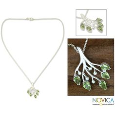 NOVICA Stunning Silver and Peridot Handmade Necklace ($55) ❤ liked on Polyvore featuring jewelry, necklaces, pendant, peridot, silver jewelry, silver teardrop pendant, leaf necklace, leaf pendant necklace and teardrop pendant