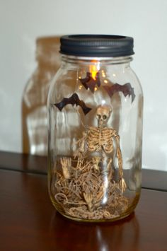 Cute Mason Jar idea using little skeletons.