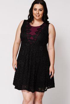 Lace Detailed Skater Dress Ex-Branded