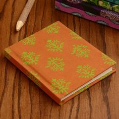 Brown - Green Fabric Cover Notebook - 15X 12 cm