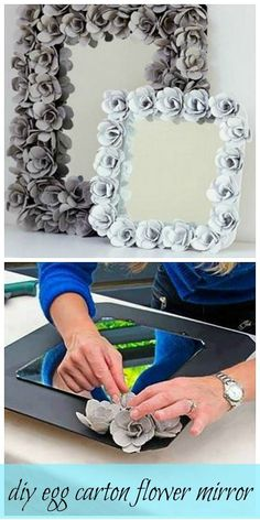 Amazing DIY egg carton flower mirror! Hard to believe something so beautiful is made with such a humble item. DIY Featured Project