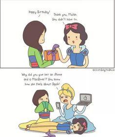 """""""Buon Compleanno"""" """"Grazie Mulan, non dovevi"""" """"Perchè le hai regalato un IPhone e un Macbook? Sai come si sente con le Mele (Apples)"""