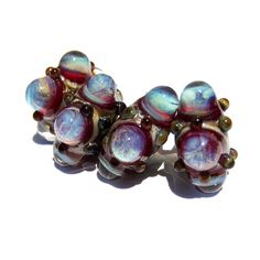 Handmade Lampwork Glass Beads Bubble Windows Lavender Plum blue s/4